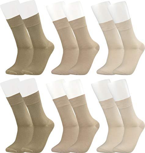 Vitasox 43042 Bambus Socken für Damen und Herren, atmungsaktive Bambussocken mit weichem Komfortb& ohne Gummi, Qualitäts Strümpfe gegen Schweiß ohne Naht an den Zehen, 6 Paar natur 39-42