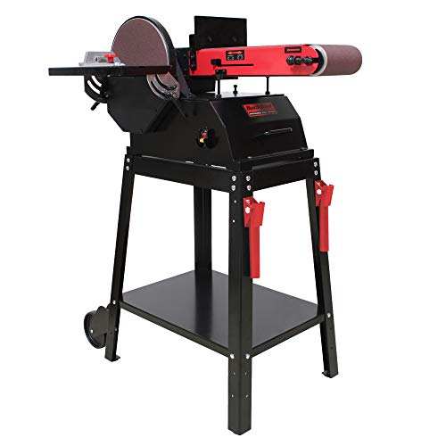 BUCKTOOL Powerful Bench Belt Sander for Wood Working 6 in. x 48 in. Belt and 10 in. Disc Sander with 1.5 HP Motor and Stand, BD61000