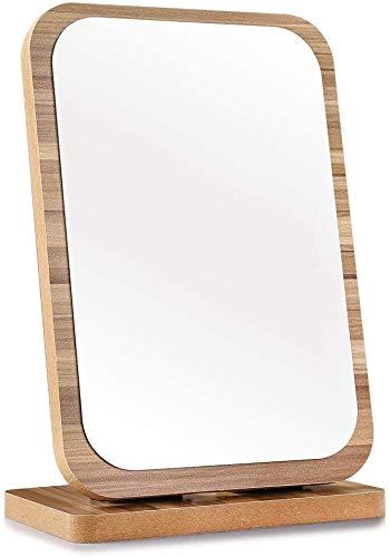Espejo de tocador de madera espejo de maquillaje de escritorio espejo cosmético HD espejo (rectángulo de madera)