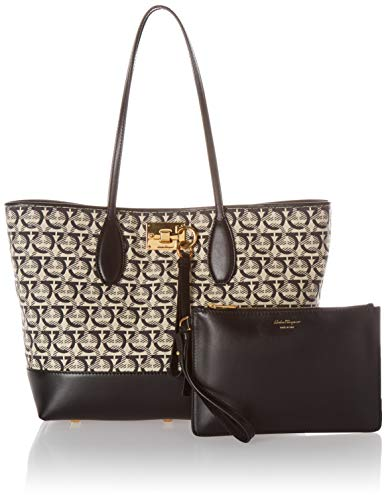 Salvatore Ferragamo Women's The Gancini Studio Tote, Beige/Nero, Black, Print, One Size