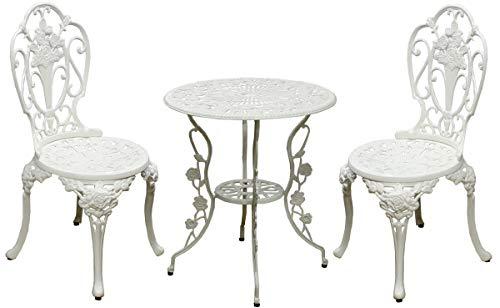ガーデンテーブル 3点セット テーブル チェア 幅60cm 円形 コンパクト アジャスター付き アウトドア ガーデニング 庭 ベランダ ウッドデッキ 屋外 玄関 カフェ サロン おしゃれ 英国風 (ホワイト)