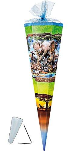 alles-meine.de GmbH Schultüte - Wildnis Tiere - Zootiere - 50 cm - mit Tüllabschluß - Zuckertüte - mit / ohne Kunststoff Spitze - für Jungen & Mädchen - Tier Giraffe Zoo Elefant ..