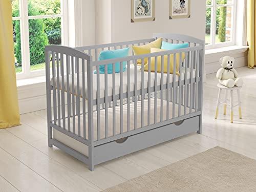 Cuna de madera para niños (gris) con cajón 120 x 60 cm + colchón de espuma + barrera de seguridad de madera + funda protectora