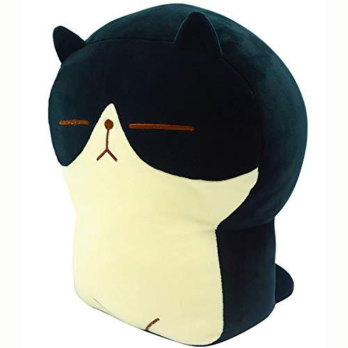 Plush Cat Doll Pillow Stuffed Chubby Cat Cute Fluffy Soft Plush Bread Toast Cat Cushion Animal Pillow for Kids (Black, 17.7 inch)