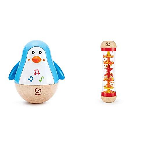 Hape E0331 - Stehauf-Pinguin, Stehaufmännchen mit Klang, blau, ab 6 Monaten & E0327 - Roter Regenmacher, Musikspielzeug, ab 0 Monaten