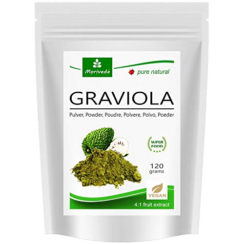 MoriVeda® - مسحوق Graviola 120g مستخلص 4: 1 مسحوق فواكه عالي التركيز ، منتج عالي الجودة (1x120g)