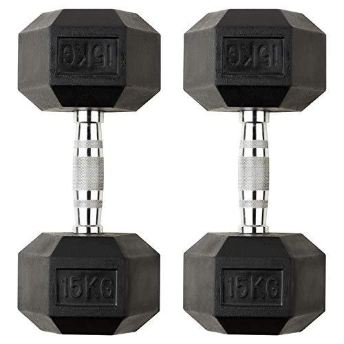 Mirafit 30kg Dumbbell Hex Weight Set - 2x 15kg