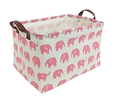 HIYAGON Rectangular Storage Box Basket for Baby, Kids or Pets - Fabric Collapsible Storage Bin for Organizing Toys,Nursery Basket,Clothing,Books, Gift Baskets (Pink Elephant) from HIYAGON