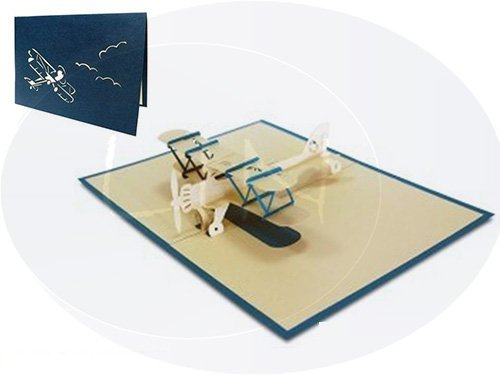 LIN-POP UP Karten 3D Karten Grußkarten,  Geburtstagskarten Glückwunschskarten Führerschein Pilot Flugzeug, Doppeldecker