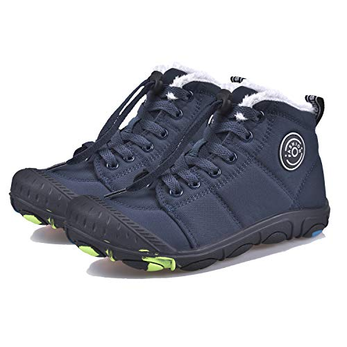 SITAILE Boys Girls Snow Boots Kids Warm Fur Lined Waterproof Anti-Slip Winter Boots Cold Weather Indoor Outdoor Ankle Boots Shoes Darkblue Size 5 Big_Kid