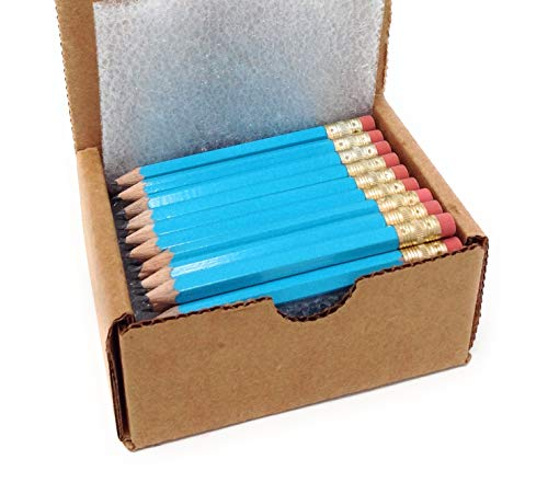 Half Pencils with Eraser - Golf, Classroom, Pew, Pocket -#2 Hexagon, Sharpened, (Box of 48). Choose From a Variety of Colors (Turquoise)