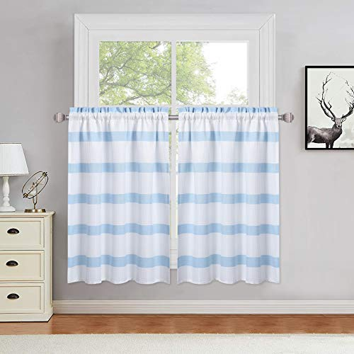 """Haperlare Tier Curtains for Kitchen Windows Yarn Dyed Striped Pattern Bathroom Window Curtain Chic Country Waffle Weave Textured Cafe Curtains Half Window Treatment Set, 30"""" W x 36"""" L, Blue, Set of 2"""