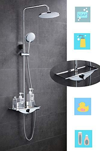 Douchesysteem met plank, regendouche, doucheset, spiegel, anti-verbranding, chroom, 2 straalsoorten voor badkamer, douchearmatuur met regendouche en handdouche