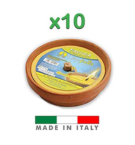 Palucart , Candela citronella Candele per Esterno in coccio di Terracotta 17 cm Set da 10 Pezzi Giardinaggio antizanzare Feste ed Eventi