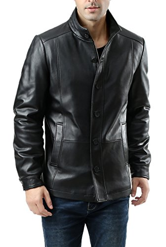 BGSD Men's Brady New Zealand Lambskin Leather City Jacket Black Medium