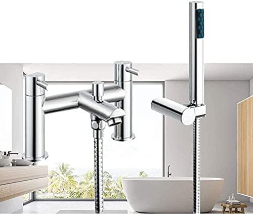 Grifo mezclador para lavabo de baño, latón cromado, grifo de ducha y ducha