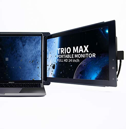 Trio Max Slide Portable Monitor for Laptop with Extra Cord, 14' FHD 1080P Attachable Second Laptop...