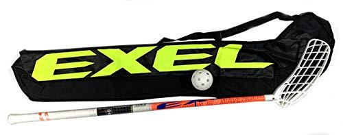 EXEL | Floorball/Unihockey Schläger Set Avenger, Schaftlänge 90 cm, mit Tasche und Ball (Linksschuss, rechte Hand Oben am Schläger)