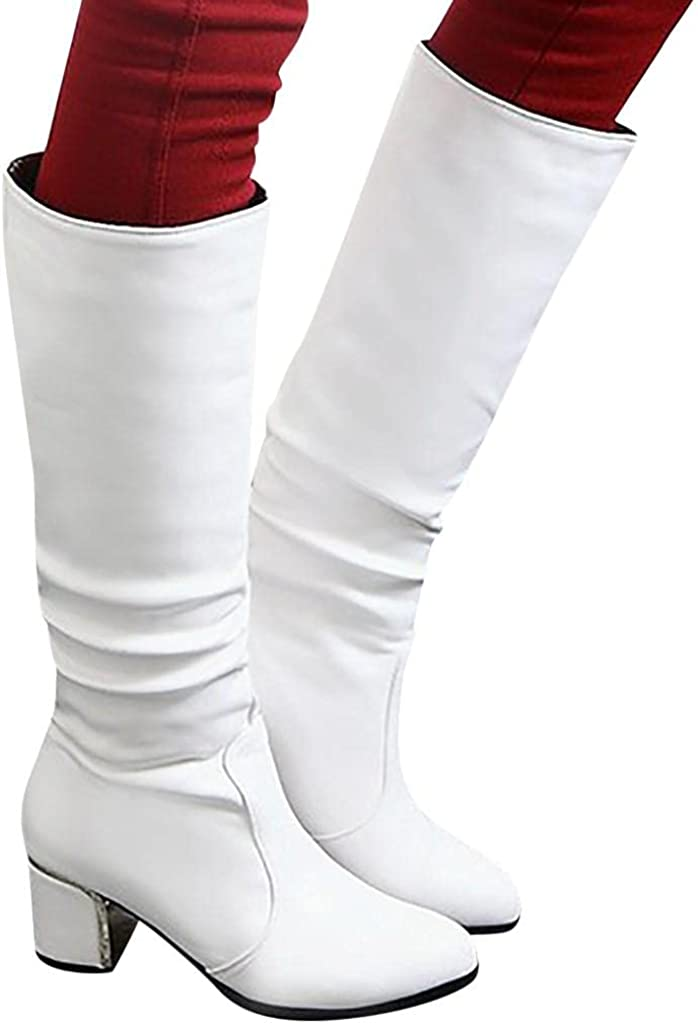 TAYBAGH Womens Knee High Boots,Women's Fashion Vintage Mid Calf Knight Boots Chunky Heels Winter Combat Knee High Boots