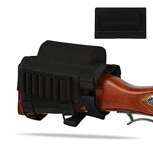 NLLeZ Tactical ButtStock Pie de Reposo de la mejilla con el Soporte de la cáscara for 7.62.308.300 mag Rifle Shotgun Ammo Pouch Cartuchos Accesorios de la Caza (Color : Negro)