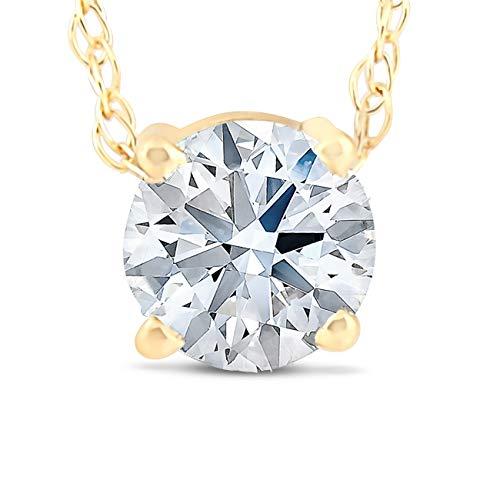 3/8 Ct Floating Diamond Solitaire Pendant in 14k Yellow Gold (0.375 Ct Diamond)