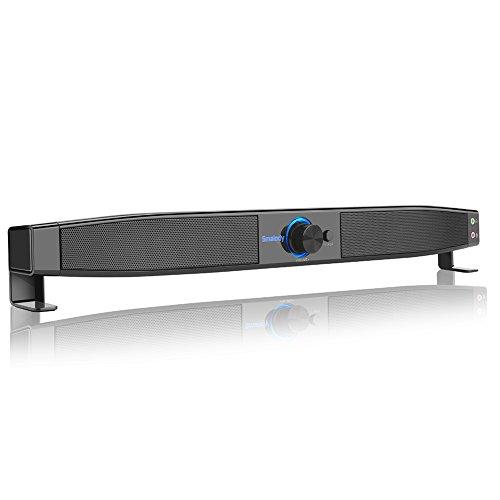Docooler Smalody Soundbar Altavoces USB Powered Home Theater Subwoofer estéreo de 5W con micrófono Soporte para Auriculares Line en reproducción de música para computadora de Escritorio