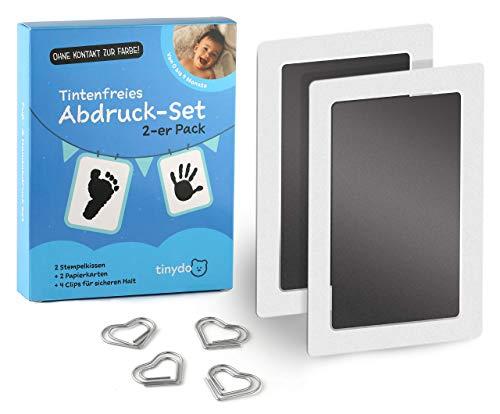 Tintenfreies Abdruckset | 2er Pack | Für Baby Fußabdruck oder Baby Handabdruck von 0 bis 9 Monate | Babyparty Geschenk | Tintenfreies Stempelkissen (schwarz) ohne Kontakt zur Farbe