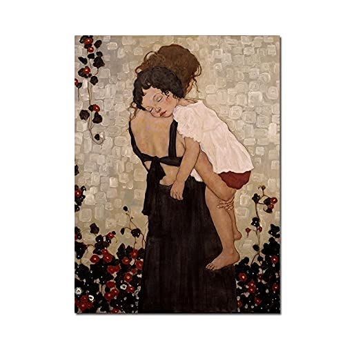 Famous Abstract Painting Mother And Child by Gustav Klimt Canvas Painting Wall Art Prints Picture For Living Room DecorA 60x80cm
