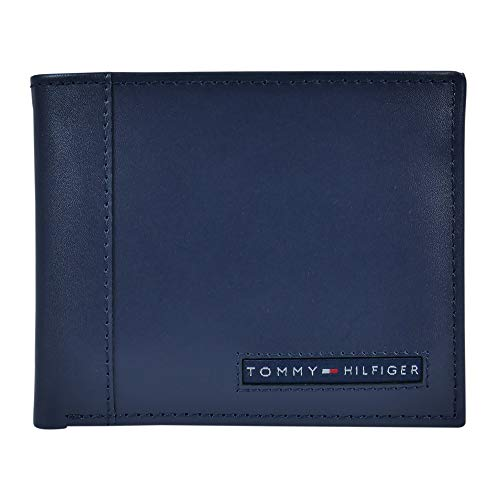 Tommy Hilfiger Men's Leather Wallet – Slim Bifold with 6 Credit Card Pockets and Removable ID Window, Navy Cambridge, One Size