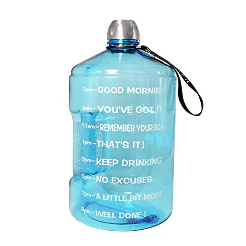 BuildLife 1 Gallon Water Bottle Motivational Fitness Workout with Time Marker/Drink More Daily/Clear BPA Free/Large 128OZ Capacity Throughout The Day(Light Blue,1 Gallon)