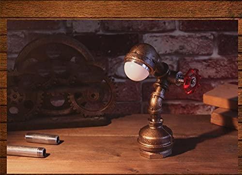 YANGLIXIA Robot Lamp Industrial, Lámpara de tubería de Agua de Robot, lámpara de Mesa Industrial de Robot de Hierro, Barra Retro Restaurante Café decoración Interruptor Steamp