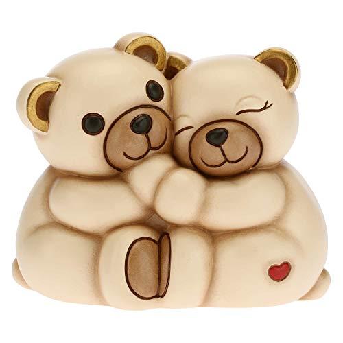 THUN - Soprammobile Teddy e Tina Coppia di Innamorati - Idea Regalo Giorno degli Innamorati - Accessori per la Casa - Linea Tell Me Your Love - Ceramica - 16,5 x 10,8 x 13,5 h cm