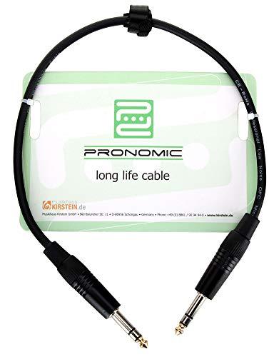 Pronomic Stage INSTS-0,5 Stereo-Klinkenkabel (symmetrisch abgeschirmt, zweiadrig, 6,3mm Stereo-Klinke ⇒ 6,3mm Stereo-Klinke, 0,5 m lang) Schwarz