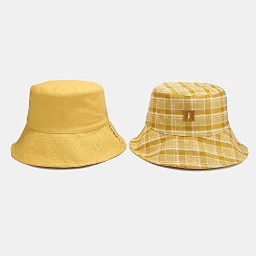 Eimerhut Damen Eimer Hut Männer Frauen Eimer Kappe Doppelhut Breite Kremme Outdoor Hut Fischerhut Plaid Unisex Hut-Gelb_One_Size