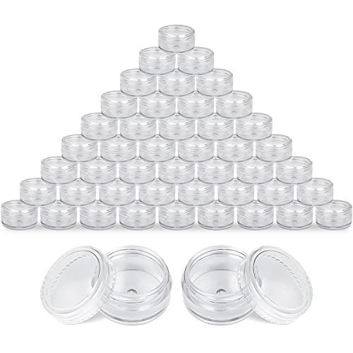 Delisouls Vide Cosmétique Pots, 100 Pièces 5ml Transparent Plastique Pot Bocaux, Poudre Fard à Paupières Récipients Échantillon Récipient Mini Bouteille pour Échantillonnage Stockage… (Transparent)