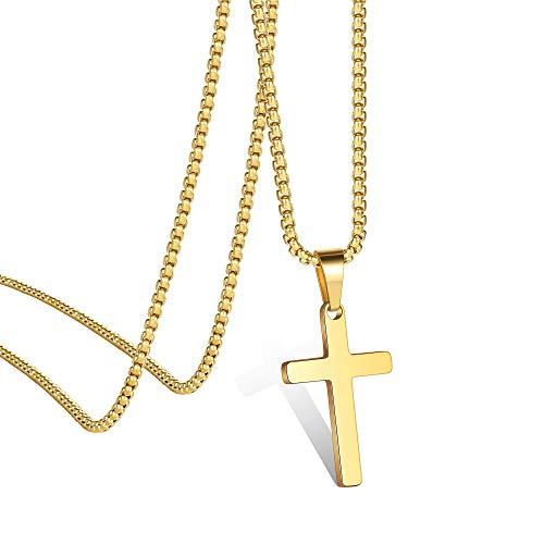 Ursteel Cross Necklace for Boys Youth Kids, Mens Cross Pendant Stainless Steel Tiny Cross Pendant Gold Cross Chain for Men 16 Inch