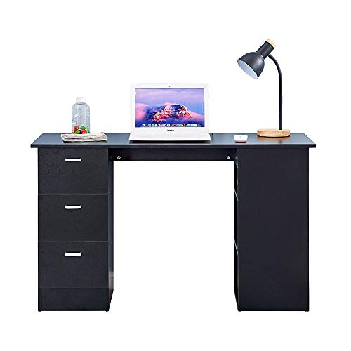 4HOMART Wooden Computer Desk, Home Office Workstation PC Laptop Gaming Writing Table Study Desk with 3 Drawers and 3 Tier Shelves (Black)