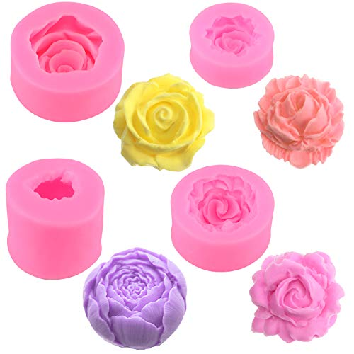 4 Moldes de Jabón de Silicona de Flor Rosa 3D Molde de Fondant de Silicona Molde de Resina para Velas de Rosas para Decoración de Pasteles Chocolate Jabón Hecho a Mano Fabricación de Dulces