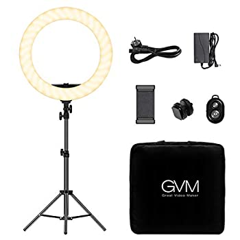 GVM Ring Light,Professional dimmable 3200K-5600K LED Round Light with Light Stand,Circular Diffuser,Smartphone Holder for YouTube Videos Cosmetics Selfies Photography Live Broadcast  18