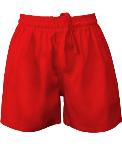 Visiodirect Short école Rugby en Polycoton, Taille Small de Couleur Rouge