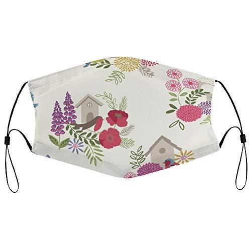 Dkisee Fashion Unisex Staubmaske mit Filterelement, verstellbare Ohrschlaufen, Gesichtsmaske für den Außenbereich, Schutzmaske (Vogelhäuser, cremefarben)