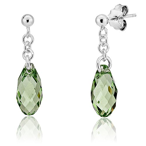 DTP Silver - Pendientes Colgantes de plata en forma Redonda - Plata 925 con Cristal Swarovski de color: Verde Peridoto