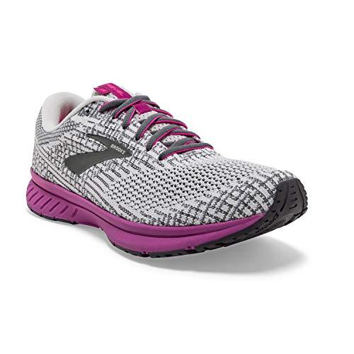 Brooks Womens Revel 3 Running Shoe - Grey/Primer/Hollyhock - B - 9.0