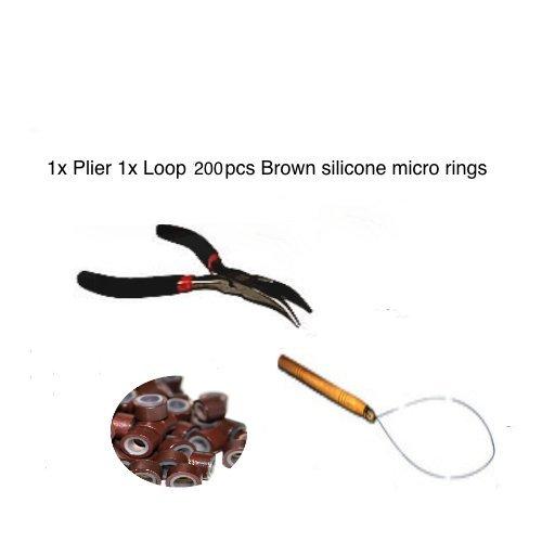 Kit plume Extension Cheveux Marron 200 anneaux.