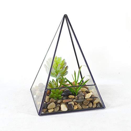 HO-TBO Planta terrario, 14x14x18.5cm pirámide metálica Vertical de Cristal geométrica terrario for...