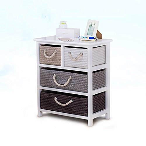 China-Bedside Table Drawer Locker-Nightstand Solid Wood Rattan Storage Box Drawer Bedroom Locker/4 Drawers /&