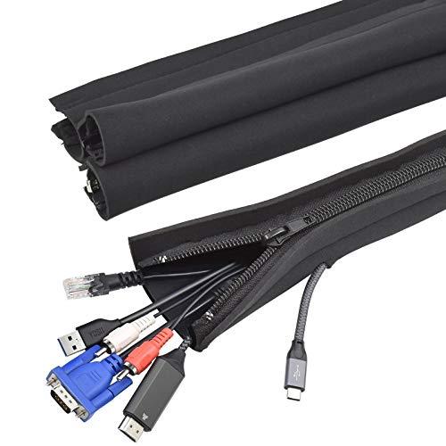 YOSH Kabelschlauch Kabelkanal Reiβverschluss (4 Stücke x 48 cm) flexibel Neopren Kabelhalter Organizer Kabelhülle für Schreibtisch TV Computer HiFi Heimkino, Kabel versteckt, gebündelt, geschützt