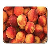 ファーマーキオスクで熟した甘美な桃のマウスパッドピーチバスケットノート、デスクトップコンピューターマウスマット、オフィス用品のマウスパッド