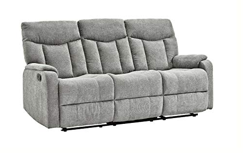 Femo 3-Sitzer Couch mit Relaxfunktion Stoff Grau Funktionssofa Polstersofa Couch Sofa