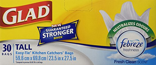 Glad White Garbage Bags - Tall 45 Litres - Febreze Fresh Clean Scent, 30 Trash Bags